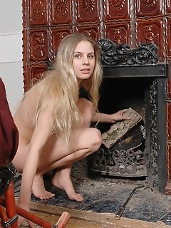 Naughty russian girl amour angels by a fireplace